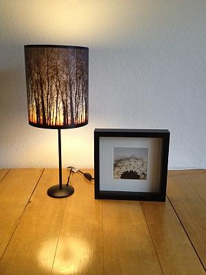 Lampenschirm mit Sonnenuntergang hinter Bäumen