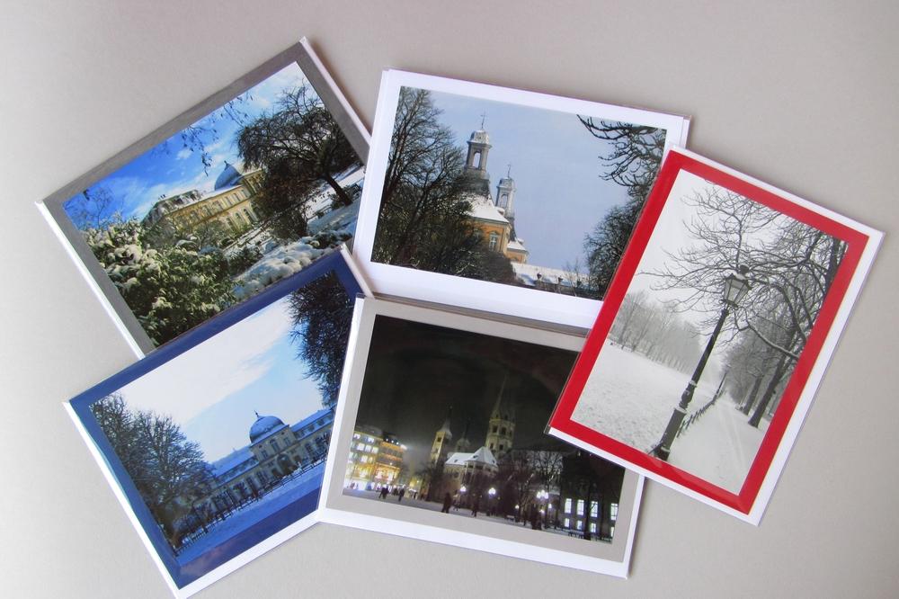 Fünf Foto-Grusskarten mit winterlichen Bonn-Motiven von Hanna Kocanis