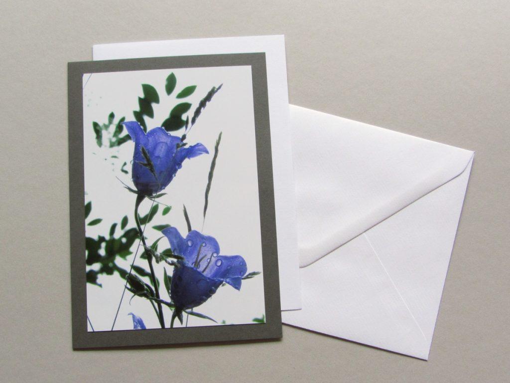 Grußkarte Glockenblume mit Regentropfen