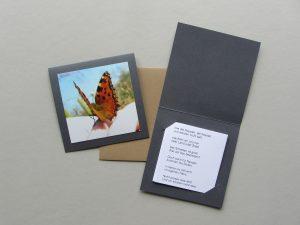 Schmetterlingsgedicht als Fotokarte mit Leporello und Briefumschlag